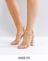 Truffle Collection Wide Fit Clear Block Heeled Sandal