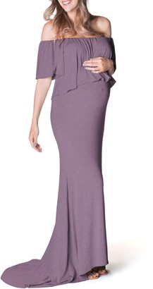 Bun Maternity Simply Stunning Off the Shoulder Maternity Maxi Dress