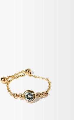 Anissa Kermiche March Diamond, Aquamarine & 14kt Gold Chain Ring - Light Blue