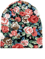 David & Young Knit Floral Beanie