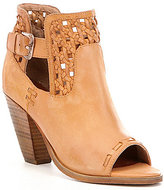 Naughty Monkey Tejer Leather Peep Toe Woven Detail Buckle Strap Booties