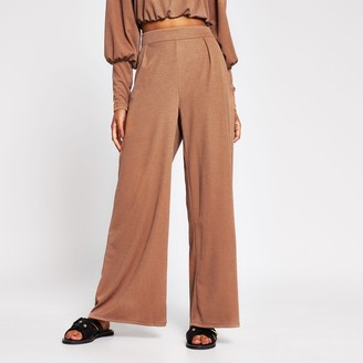 River Island Womens Brown wide leg trouser