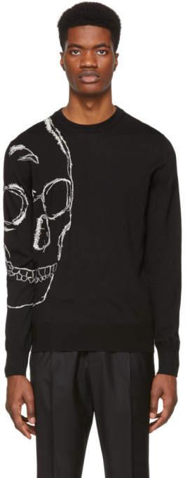 Alexander McQueen Black and Ivory Skull Sweater
