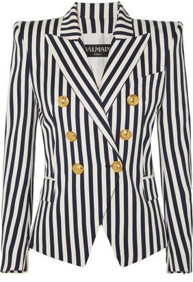 Balmain Double-breasted Striped Cotton-twill Blazer - Navy