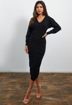 Missguided Black Ruched V Neck Midi Dress