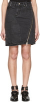 3.1 Phillip Lim Black Asymmetric Zip Denim Miniskirt