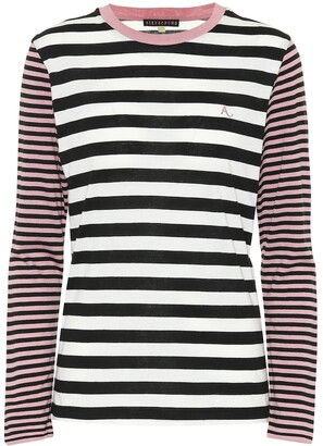 ALEXACHUNG Striped cotton-blend top