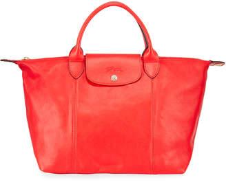 Longchamp Le Pliage Cuir Webbing Medium Tote Bag, Blue