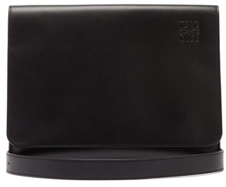 Loewe Cross-body Flat Leather Messenger Bag - Mens - Black