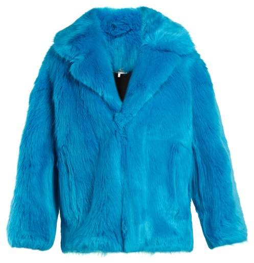 Diane von Furstenberg Oversized Faux Fur Jacket - Womens - Blue