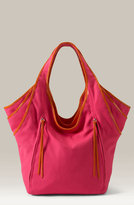 Contrast Piped Canvas Bucket Bag