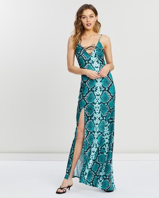 Missguided Snake Satin Lace-Up Cami Maxi Dress