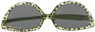 Martine Rose Leopard Print Sunglasses