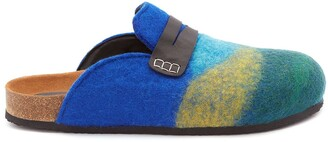 J.W.Anderson striped leather-trimmed felt slippers