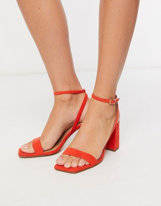 ASOS DESIGN Havana barely there block heeled sandals in red