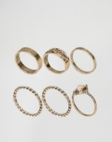Asos Pack of 6 Moonstone Festival Ring Pack