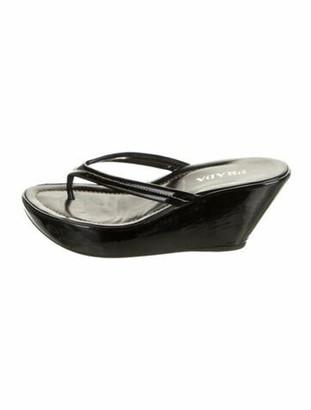 Prada Patent Leather Slides Black