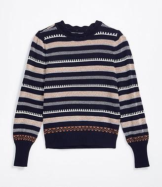 LOFT Shimmer Striped Pointelle Sweater