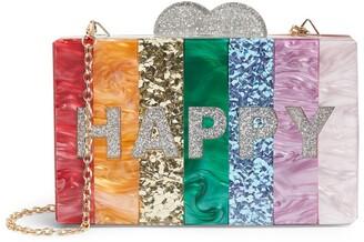 Bari Lynn Happy Rainbow Box Clutch Bag