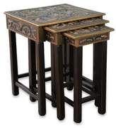 Artisan Crafted Wood Leather Side Table (Set of 3), 'Bird of Paradise'
