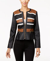 INC International Concepts Faux-Leather Peplum Moto Jacket, Only at Macy's