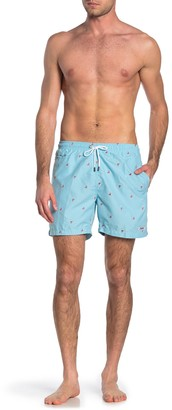 Trunks Surf And Swim Co. Embroidered Flamingo Swim Shorts