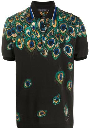Dolce & Gabbana Feather-Print Pique Polo Shirt