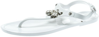 Tod's White Jelly Tassel Detail Thong Flat Sandals Size 36