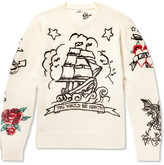 Valentino Embroidered Virgin Wool And Cashmere-blend Sweater - Off-white