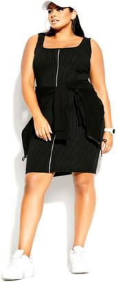 City Chic Neon Stripe Dress - black