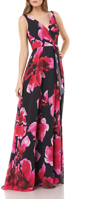 Carmen Marc Valvo Floral Printed Chiffon Surplice Gown
