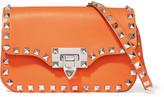 Valentino The Rockstud Leather Shoulder Bag - Orange