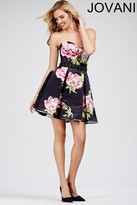 Jovani Strapless Sweetheart Floral Print A-Line Cocktail Dress 28880