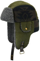 Nathaniel Cole Canvas and Knit Berber Trim Aviator Hat