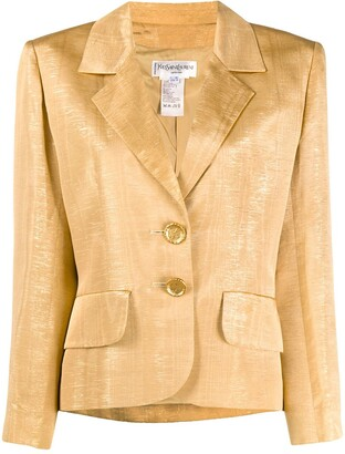 Yves Saint Laurent Pre Owned 1990s Shoulder Pads Metallic Blazer