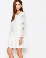 Vero Moda Lace Sleeve Drop Waist Skater Dress