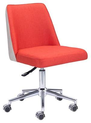 BEIGE ZM Home Modern Upholstered Adjustable Office Chair - Bright Orange