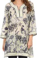 Sakkas 164022 - Americus Long Sleeve Cotton Tunic Blouse Top With Ocean Floor Prints