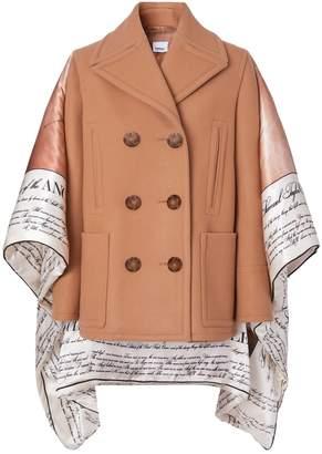 Burberry Mariner Print Wool-Silk Pea Coat