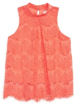 Girl's Love, Fire Mock Neck Lace Top