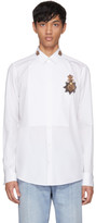 Dolce & Gabbana White Embellished Crown Shirt