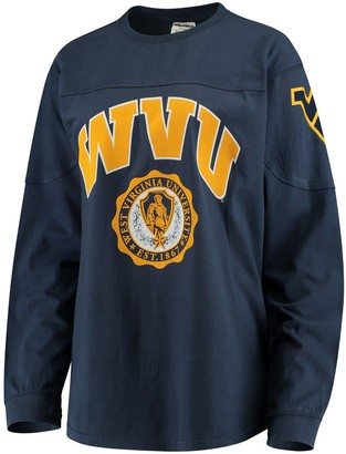 Women's Navy West Virginia Mountaineers Edith Long Sleeve T-Shirt