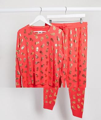 Chelsea Peers pineapple foil pyjama set in red and gold