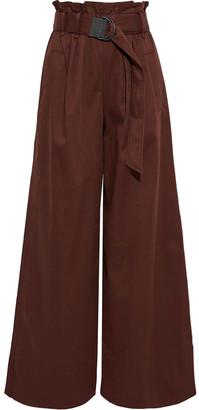 Brunello Cucinelli Belted Cotton-blend Twill Wide-leg Pants