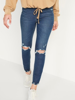 Old Navy Extra High-Waisted Rockstar 360 Stretch Super Skinny Ripped Ankle Jeans for Women