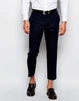 Farah Cropped Trousers In Wool Mix Slim Fit - Blue