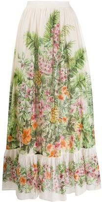 Twin-Set Gathered Floral Print Skirt