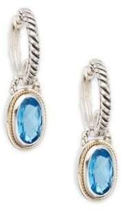 Effy Blue Topaz, Sterling Silver & 18K Yellow Gold Drop Earrings