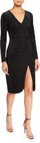 Black Halo Miramar Pinstriped Long-Sleeve Velvet Wrap Dress