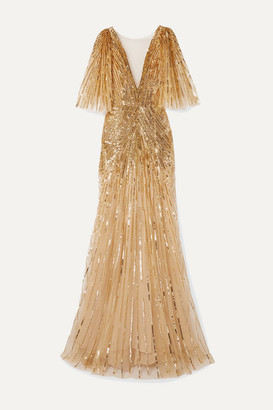 Monique Lhuillier Mesh-trimmed Sequin-embellished Tulle Gown - Gold